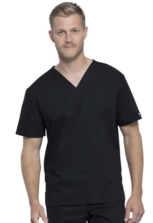 Cherokee Workwear Unisex Pocketless V-Neck Top Black (WW605-BLK)