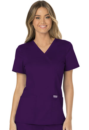 Cherokee Workwear Mock Wrap Top Eggplant (WW610-EGG)