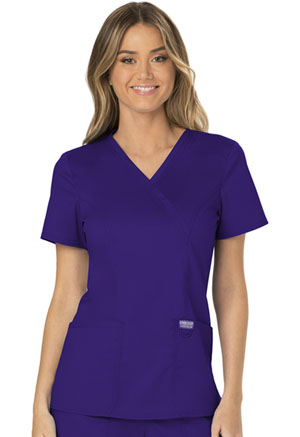 Cherokee Workwear Mock Wrap Top Grape (WW610-GRP)