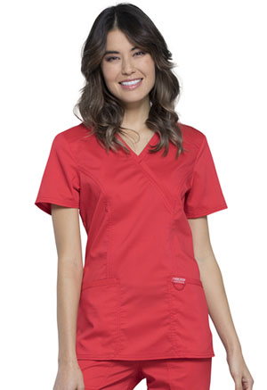 Cherokee Workwear Mock Wrap Top Hot Tomato (WW610-HOTT)