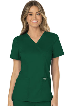 Cherokee Workwear Mock Wrap Top Hunter Green (WW610-HUN)