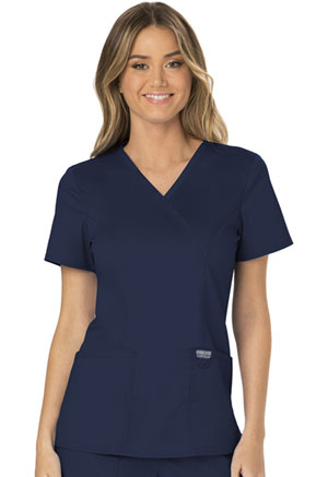 Cherokee Workwear Mock Wrap Top Navy (WW610-NAV)