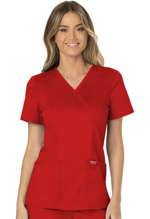 Cherokee Workwear Mock Wrap Top Red (WW610-RED)