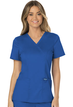 Cherokee Workwear Mock Wrap Top Royal (WW610-ROY)