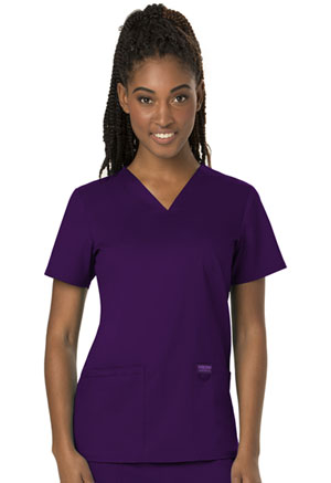 Cherokee Workwear V-Neck Top Eggplant (WW620-EGG)