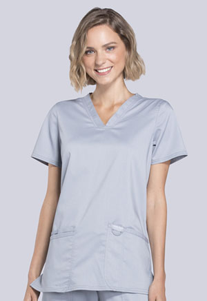 Cherokee Workwear V-Neck Top Grey (WW620-GRY)