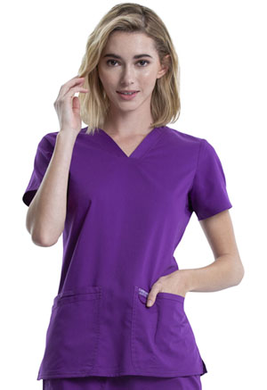 Cherokee Workwear V-Neck Top Perfect Plum (WW620-PLPF)