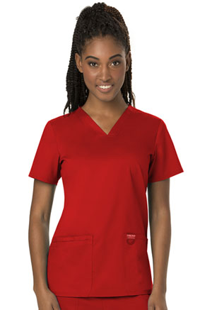 Cherokee Workwear V-Neck Top Red (WW620-RED)