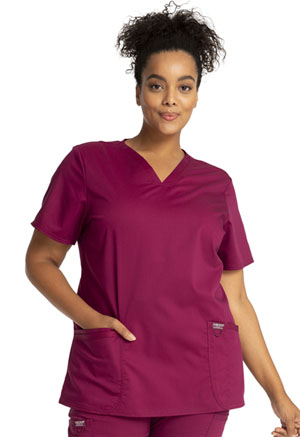 Cherokee Workwear V-Neck Top Wine (WW620-WIN)