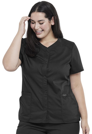Cherokee Workwear Snap Front V-Neck Top Black (WW622-BLK)
