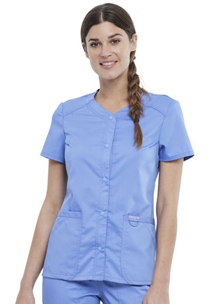 Cherokee Workwear Snap Front V-Neck Top Ciel Blue (WW622-CIE)