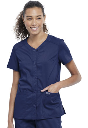 Cherokee Workwear Snap Front V-Neck Top Navy (WW622-NAV)