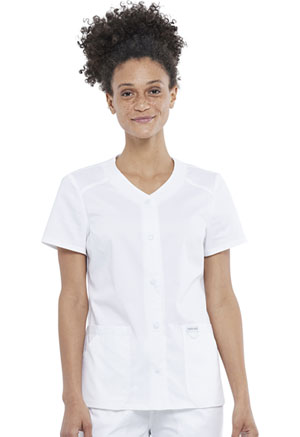 Cherokee Workwear Snap Front V-Neck Top White (WW622-WHT)
