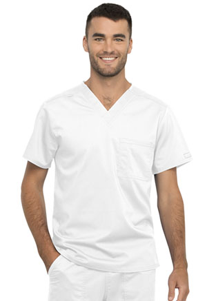 Cherokee Workwear Unisex 1 Pocket V-Neck Top White (WW625-WHT)