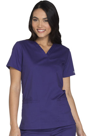 Cherokee Workwear V-Neck Top Grape (WW630-GRPW)