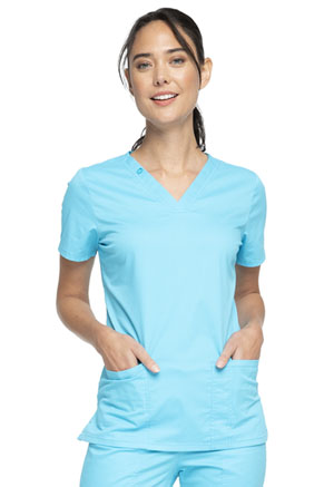 Cherokee Workwear V-Neck Top Turquoise (WW630-TRQW)