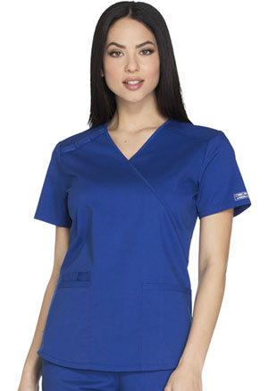 Cherokee Workwear WW Core Stretch Women's Mock Wrap Top Blue