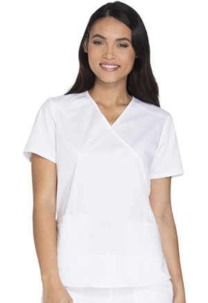 Cherokee Workwear Mock Wrap Top White (WW640-WHTW)
