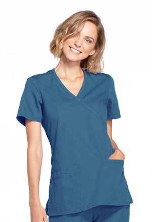 Cherokee Workwear Mock Wrap Top Caribbean Blue (WW650-CARW)
