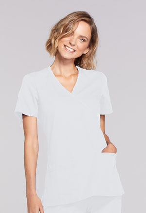 Cherokee Workwear Mock Wrap Top White (WW650-WHTW)