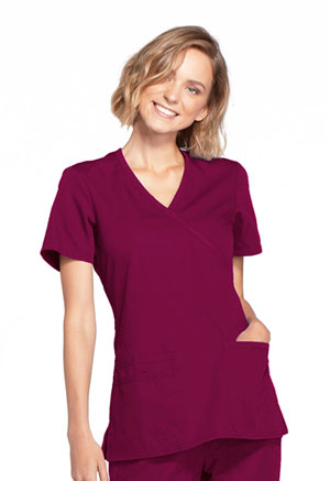 Cherokee Workwear Mock Wrap Top Wine (WW650-WINW)