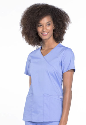 Cherokee Workwear Mock Wrap Top Ciel Blue (WW655-CIE)