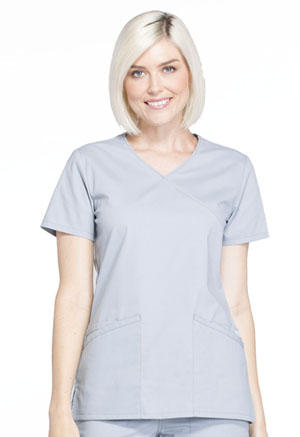 Workwear WW Professionals Mock Wrap Top (WW655-GRY) (WW655-GRY)