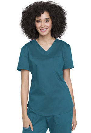 Cherokee Workwear Tuckable V-Neck O.R. Top Caribbean Blue (WW657-CAR)