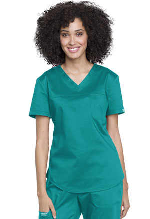 Cherokee Workwear Tuckable V-Neck O.R. Top Teal Blue (WW657-TLB)