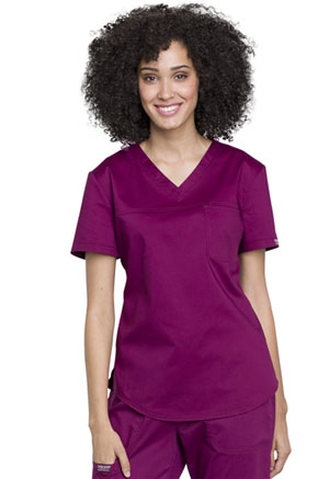 Cherokee Workwear V-Neck O.R. Top Wine (WW657-WIN)