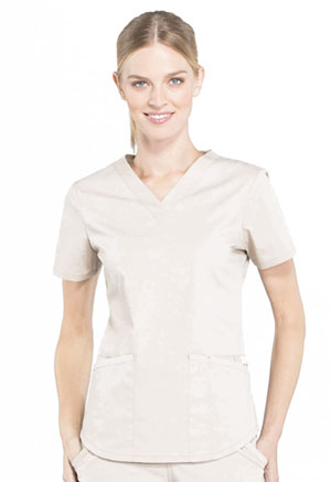 Cherokee Workwear V-Neck Top Khaki (WW665-KAK)