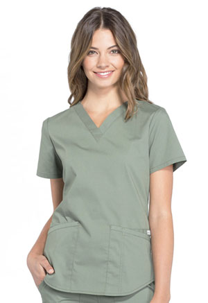 Cherokee Workwear V-Neck Top Olive (WW665-OLV)