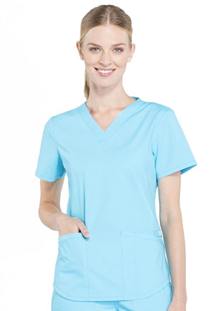Cherokee Workwear V-Neck Top Turquoise (WW665-TRQ)