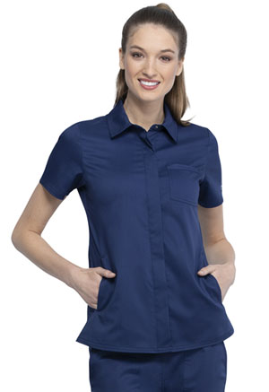 Cherokee Workwear Hidden Snap Front Collar Shirt Navy (WW669-NAV)