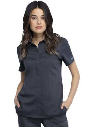 Cherokee Workwear Hidden Snap Front Collar Shirt Pewter (WW669-PWT)