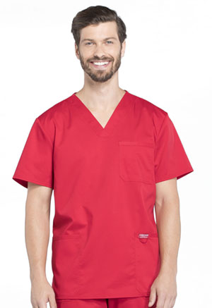 Cherokee Workwear Men's V-Neck Top Red (WW670-RED)