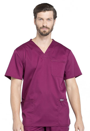 Cherokee Workwear Men's V-Neck Top Wine (WW670-WIN)