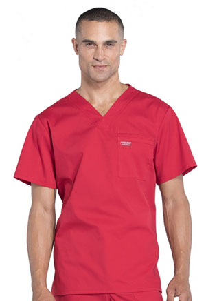Cherokee Workwear Men's V-Neck Top Red (WW675-RED)
