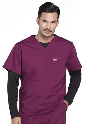 Cherokee Workwear Men's V-Neck Top Wine (WW675-WIN)