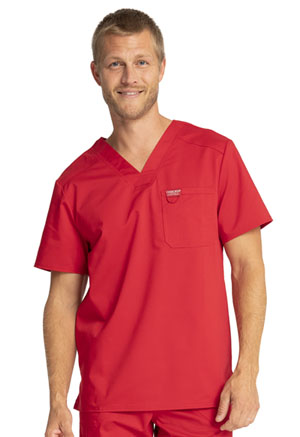 Cherokee Workwear Men's V-Neck Top Red (WW690-RED)