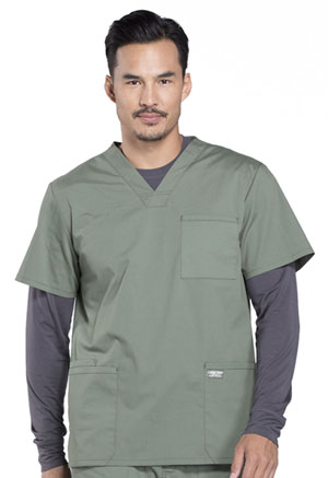 Cherokee Workwear Men's V-Neck Top Olive (WW695-OLV)