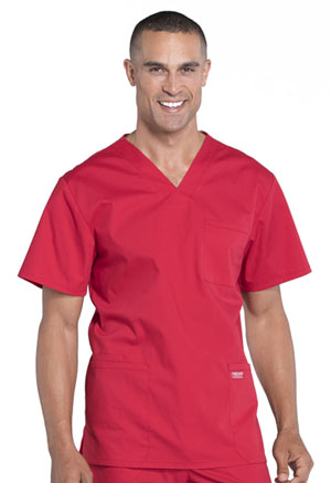 Cherokee Workwear Men's V-Neck Top Red (WW695-RED)