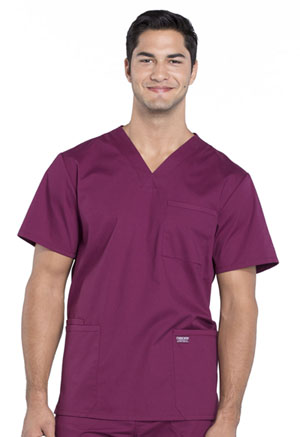 Cherokee Workwear Men's V-Neck Top Wine (WW695-WIN)