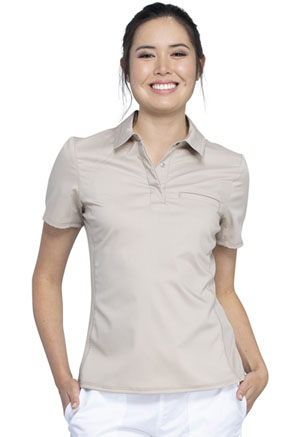 Cherokee Workwear Snap Front Polo Shirt Khaki (WW698-KAK)