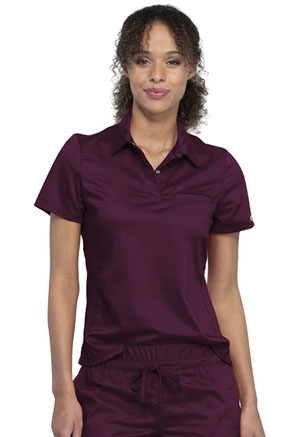 Cherokee Workwear Tuckable Snap Front Polo Shirt Wine (WW698-WIN)