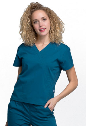 Cherokee Workwear Mock Wrap Top Caribbean Blue (WW705-CAR)