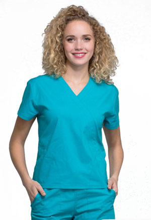 Cherokee Workwear Mock Wrap Top Teal Blue (WW705-TLB)