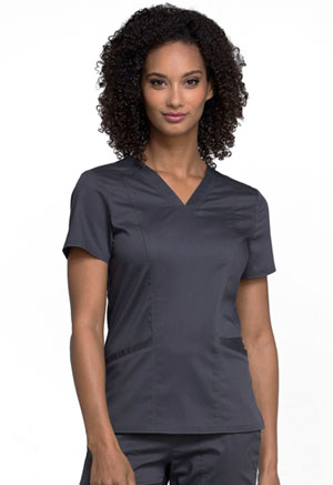 Cherokee Workwear V-Neck Top Pewter (WW710-PWT)