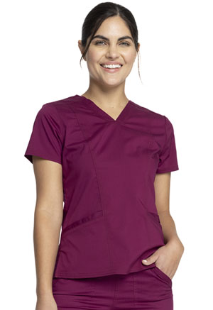Cherokee Workwear V-Neck Top Wine (WW710-WIN)