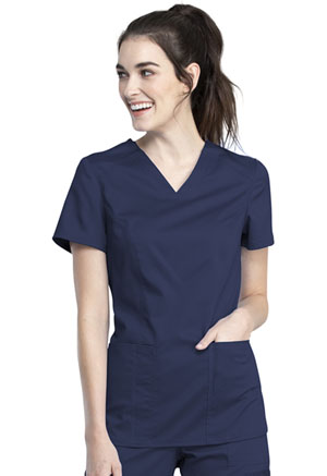Cherokee Workwear V-Neck Top Navy (WW741AB-NAV)